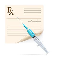 medical prescription and syringe vector image vector image