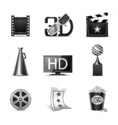 movie icons bw series vector image vector image