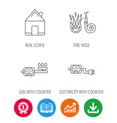 Real estate fire hose and gas counter icons vector