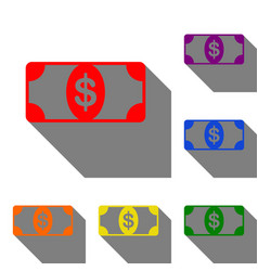 bank note dollar sign set of red orange yellow vector image vector image