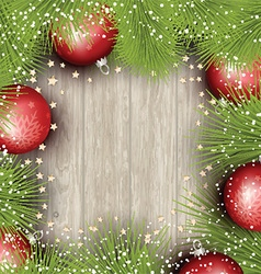 Christmas background with pine tree branches and vector image
