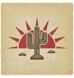 Desert cactus at sunset old background vector image