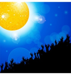 Disco ball with crowd over blue glowing background vector image vector image