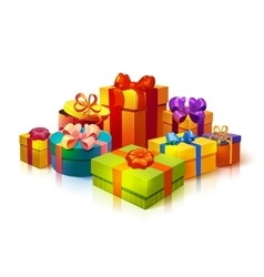 Gift Boxes Pile Composition vector image vector image