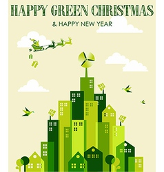 Happy green Christmas vector image