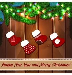 New Year wood texture with fir branches vector image