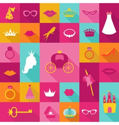 Priness Flat Icons Set - crown lips rings hats vector image vector image