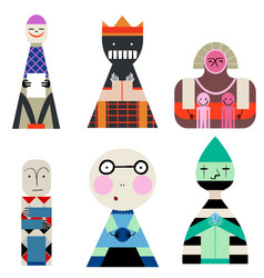 set of dolls from shapes abstract human vector image vector image