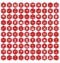 100 idea icons hexagon red vector