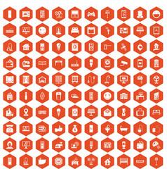 100 smart house icons hexagon orange vector