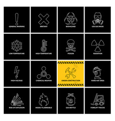 16 warning labels with line icons vector image
