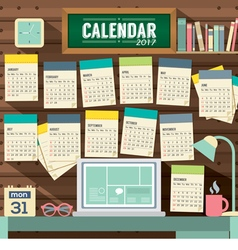 2017 Calendar Starts Sunday Workspace Concept vector image