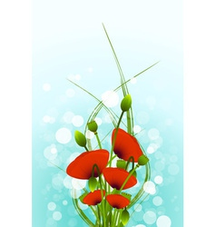 Abstract Background with red poppy flowers and bok vector image