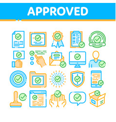 approved collection elements icons set vector image