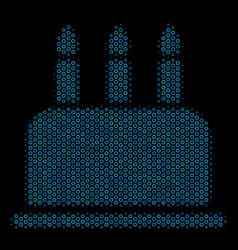 Birthday cake mosaic icon of halftone spheres vector