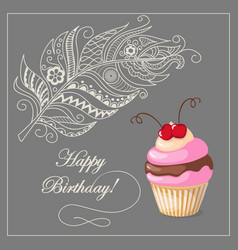 birthday card with cake cherry and feather vector image