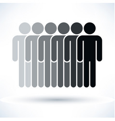 Black six people man figure with drop shadow vector
