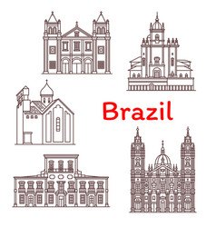 brazil landmarks architecture icons vector image