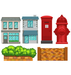 Building design with fence and postbox vector