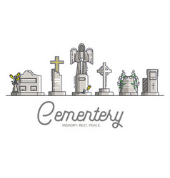 Cemetery with different graves layout modern vector
