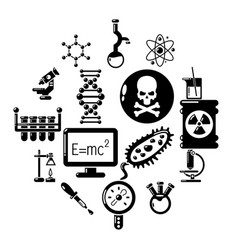 chemistry laboratory icons set simple style vector image