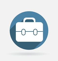 Circle blue icon with shadow briefcase vector image