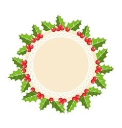 Circle Christmas Label Icon Flat with Holly Sprigs vector image