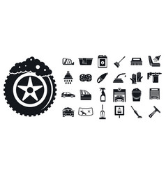 cleaning car wash icon set simple style vector image
