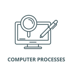 computer processes line icon computer vector image