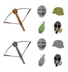 Crossbow medieval helmet soldier helmet hand vector