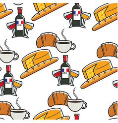 Cuisine and drinks french cheese and baguette wine vector