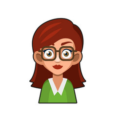 cute beautiful girl with glasses avatar young vector image