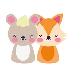 cute little bear and fox cartoon design vector image