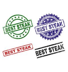 Damaged textured best steak seal stamps vector