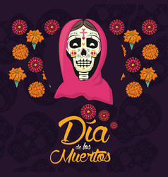 day of the dead card vector image