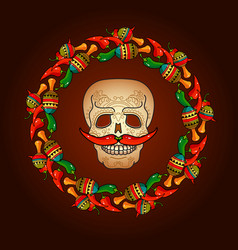 day of the dead skull with mustache vector image