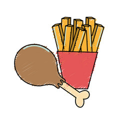 Delicious chicken thigh with tasty fries french vector