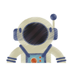 drawing astronaut suit helmet space vector image