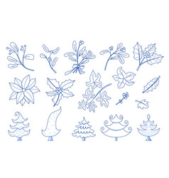 evergreen christmas plant collection doodle style vector image