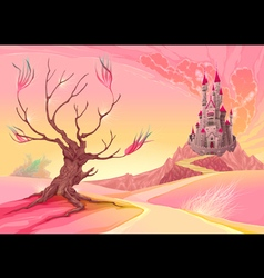 Fantasy landscape with castle vector image