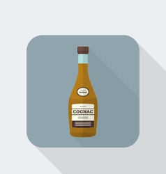 flat style cognac bottle icon with shadow vector image