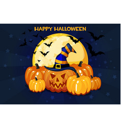 funny cartoon halloween pumpkins and moon vector image
