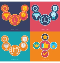 Gamification icons in flat style vector