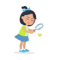 Girl looking at butterfly through magnifying glass vector
