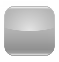 Gray glossy button blank icon square empty shape vector