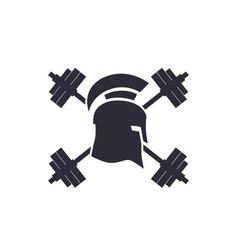 Gym logo emblem spartan helmet barbells vector