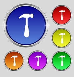 Hammer icon sign Round symbol on bright colourful vector image