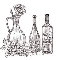 Hand drawn wine decanter with roses wine bottles vector