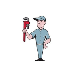 Handyman Monkey Wrench Standing Cartoon vector image