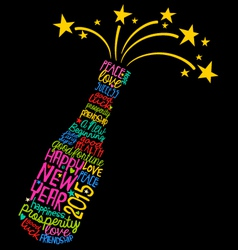 Happy New Year champagne bottle word cloud vector